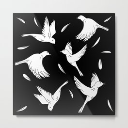 Little Birds Black and White Pattern Metal Print