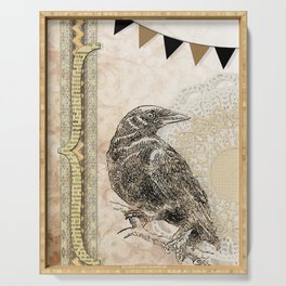 Crow, Brown Banner, Doily, Digital Design Serving Tray