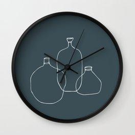 Dark Green Vases Wall Clock