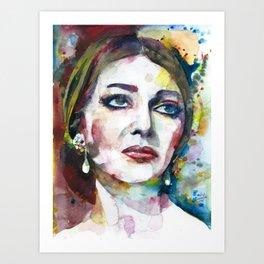 MARIA CALLAS - watercolor portrait .8 Art Print