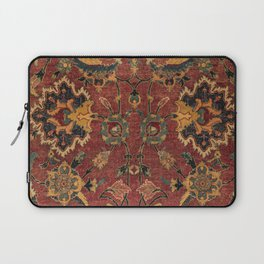 Flowery Boho Rug III // 17th Century Distressed Colorful Red Navy Blue Burlap Tan Ornate Accent Patt Laptop Sleeve