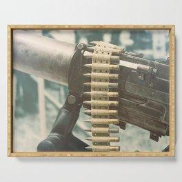 Old machine Gun. First World War Machine gun. Serving Tray