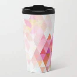 Abstract pink pastell triangle pattern- Watercolor illustration Travel Mug