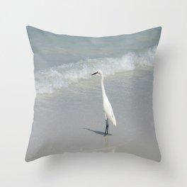 Egret on The Beach Throw Pillow
