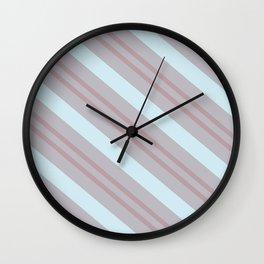 Diagonal striped pattern blue coral beige Wall Clock