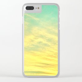 Green Yellow Sunset Clear iPhone Case