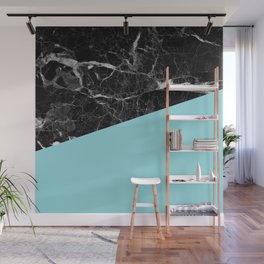 Black Marble and Island Paradise Color Wall Mural
