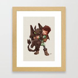 Hiccup & Toothless - Childhood  Framed Art Print