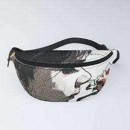 Print of little girl smelling the garden rose, floral print Fanny Pack
