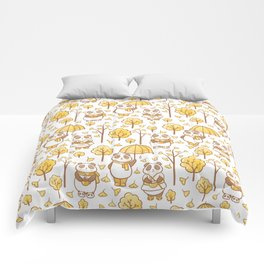 Pandas and ginkgo Comforters