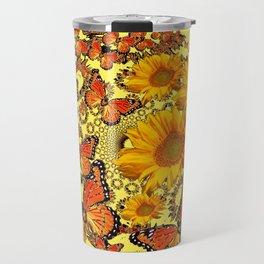 Butterfly & Sunflower Yellow Nature Patterns Travel Mug