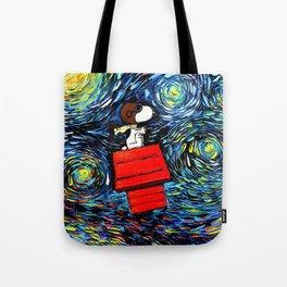 Snoopy Peanuts Cartoon Starry Night Tote Bag