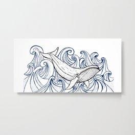 Whale Then Metal Print