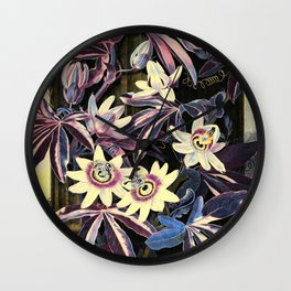Deep Pastels Blue Passion Flowers Temple of Flora Wall Clock