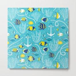 Deep Blue Sea Aqua Metal Print