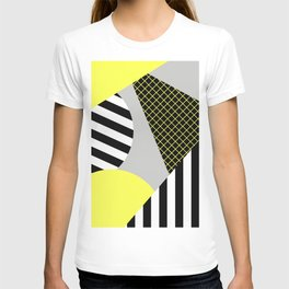 Eclectic Geometric - Yellow, Black And White T-shirt
