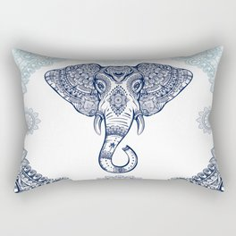 Bohemian Elephant Tribal Boho Gradient Blue Rectangular Pillow