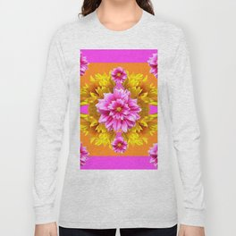 FUCHSIA PINK DAHLIAS & YELLOW SUNFLOWERS GARDEN ART Long Sleeve T-shirt
