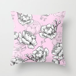Peony floral pattern with pink background Throw Pillow