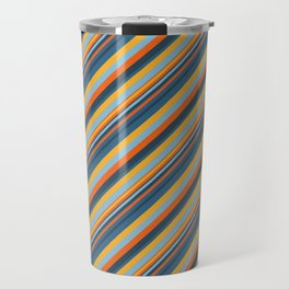Indigo Orange Sky Blue Inclined Stripe Travel Mug
