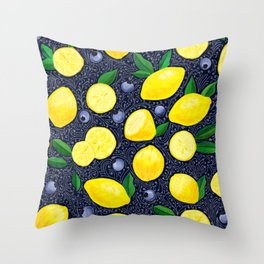 Lemon Blueberry Tart Throw Pillow