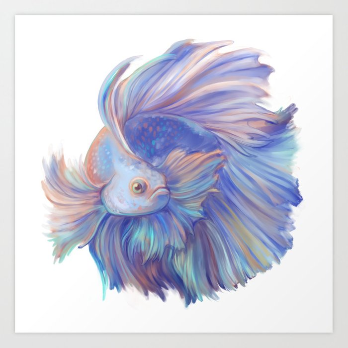 Betta Fish Art Print By Blackkat Society6