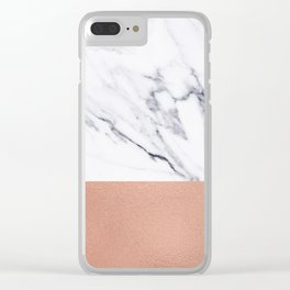 Marble Rose Gold Luxury iPhone Case and Throw Pillow Design Clear iPhone Case