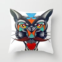 panther Throw Pillows featuring panther by Ronan Holdsworth