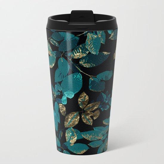 Seamless Blossom Pattern Metal Travel Mug