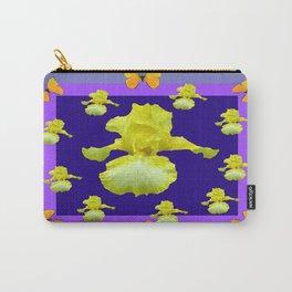 Golden Butterflies Yellow Iris Purple Pattern Art Carry-All Pouch