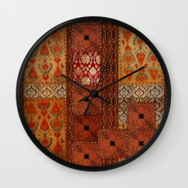 Vintage textile patches Wall Clock