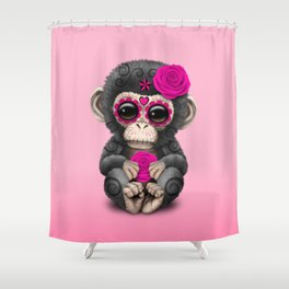 Pink Day of the Dead Sugar Skull Baby Chimp Shower Curtain
