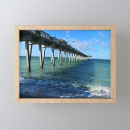 Fishing Pier on Venice Beach - Venice Florida Framed Mini Art Print