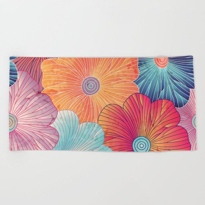 Big Bright Flowers Beach Towel