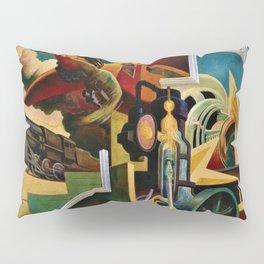 Classical Masterpiece 'Instruments of Power - Train, Airplane, Steam by Thomas Hart Benton Pillow Sham