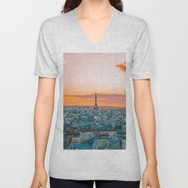 Sunset in Paris (Color) Unisex V-Neck