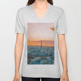 Sunset in Paris (Color) Unisex V-Neck