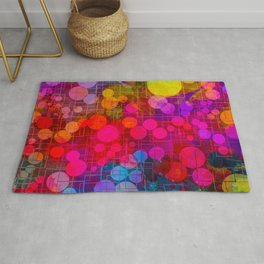Rainbow Bubbles Abstract Design Rug