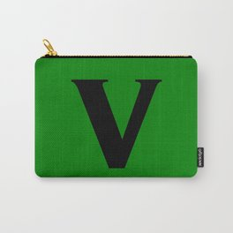 v (BLACK & GREEN LETTERS) Carry-All Pouch