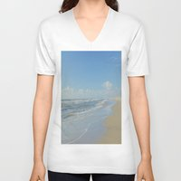 denmark V-neck T-shirts featuring North sea coastline in Denmark by Ricarda Balistreri