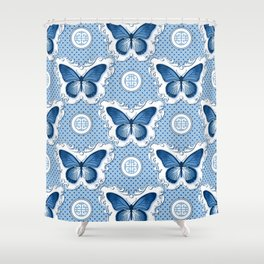 Chinoiseries Porcelain Butterfly Blue Shower Curtain