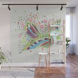 Flying with flowers Wall Mural