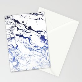 Modern white marble blue ombre navy blue watercolor gradient fade Stationery Cards