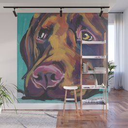 Fun Chocolate Lab Dog bright colorful Pop Art Labrador Wall Mural