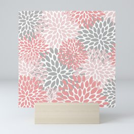 Floral Pattern, Coral Pink and Gray Mini Art Print