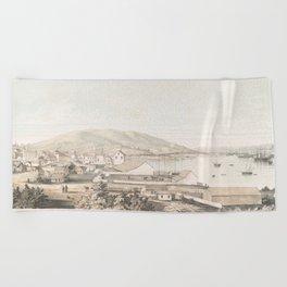 Vintage Pictorial Map of San Francisco CA (1849) Beach Towel