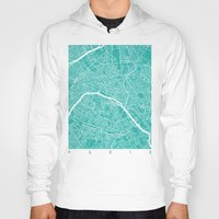 paris map Hoodies featuring Paris map turquoise by Maps_art