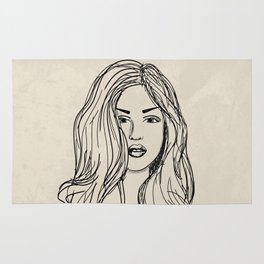Hand drawn woman with long hair Rug