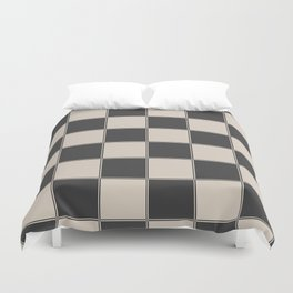 Traditional Checkerboard, Ecru-Beige and Chocolate-Deep Brown Duvet Cover
