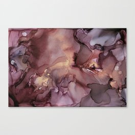 Ink Swirls Painting Lavender Plum Gold Flow Canvas Print
